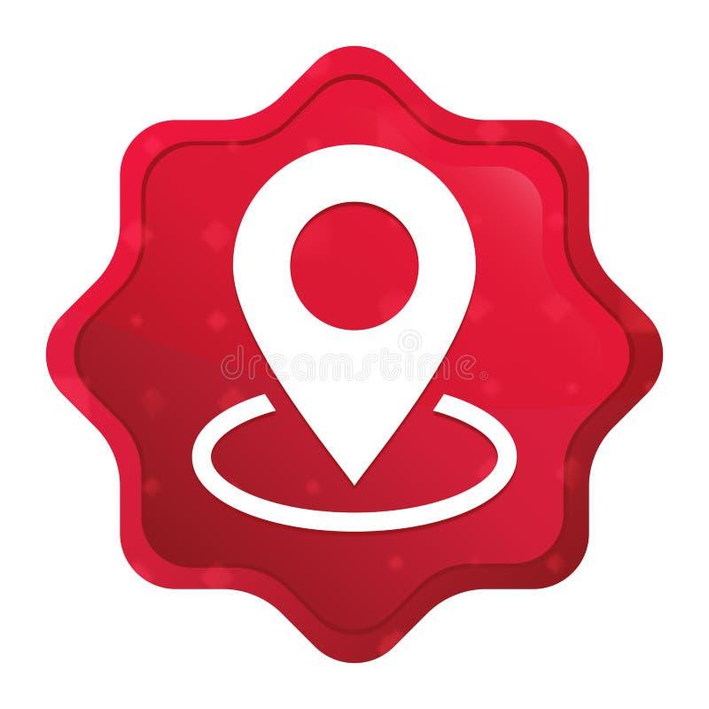 L'icône de point de carte brumeuse a monté bouton rouge d'autocollant de starburst illustration stock