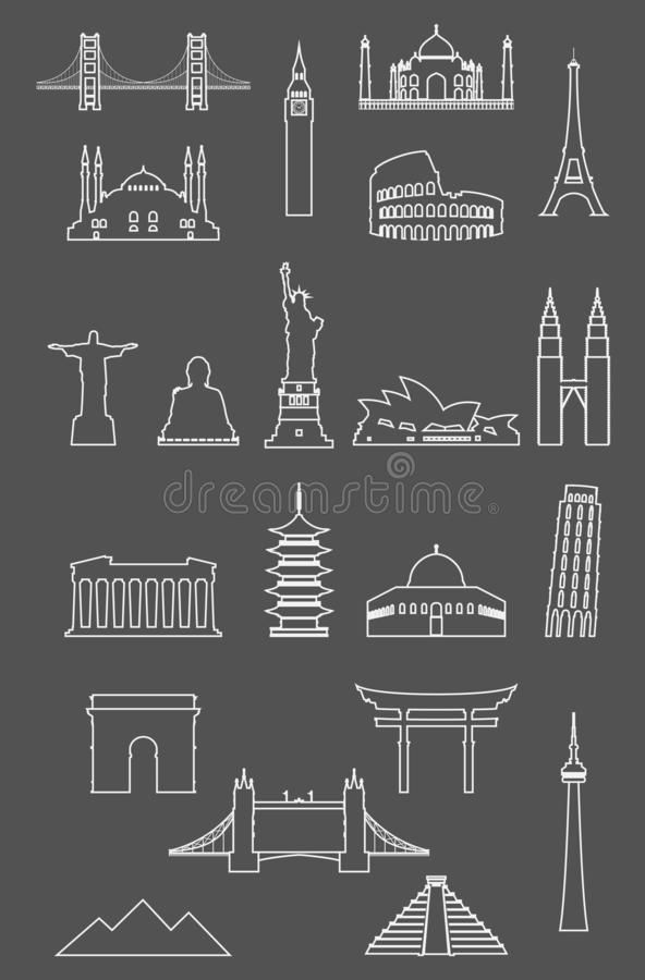 L'icône de points de repère de voyage a placé avec la ligne style mince illustration libre de droits