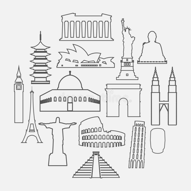 L'icône de points de repère de voyage a placé avec la ligne style mince illustration de vecteur