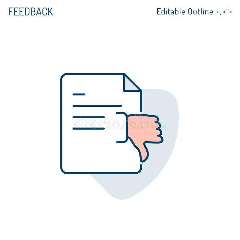 L'icône de retour, document, rejet de proposition d'affaires, pouces avalent, désaccord, résultat d'examen, course Editable illustration stock