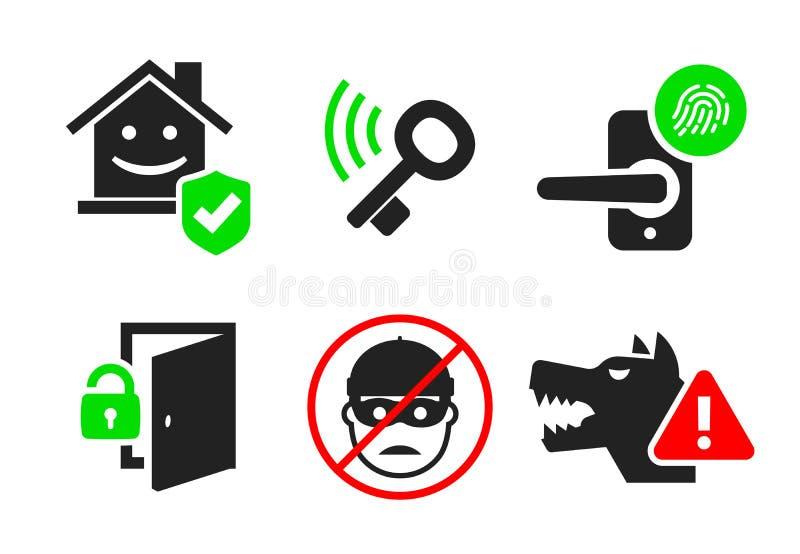 L'icône de sécurité à la maison a placé 04 illustration de vecteur