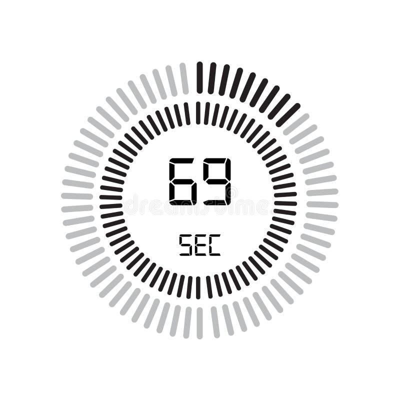 L'icône de 69 secondes, minuterie numérique horloge et montre, minuterie, coun illustration de vecteur