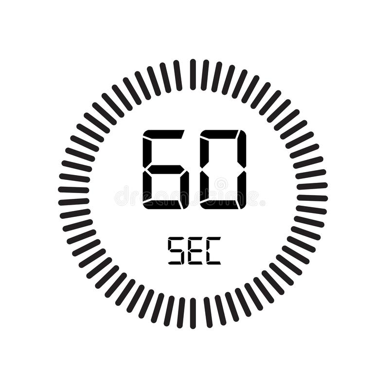 L'icône de 60 secondes, minuterie numérique horloge et montre, minuterie, coun illustration de vecteur