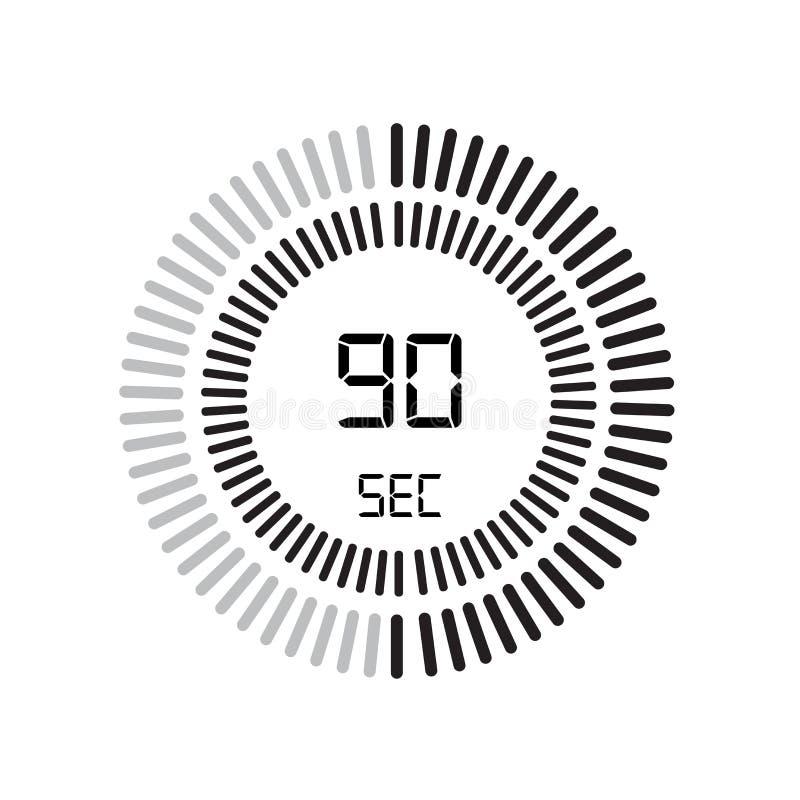 L'icône de 90 secondes, minuterie numérique horloge et montre, minuterie, coun illustration stock