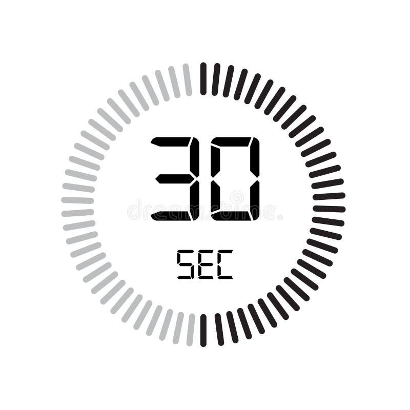L'icône de 30 secondes, minuterie numérique horloge et montre, minuterie, coun illustration libre de droits