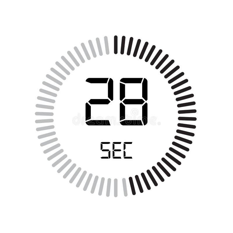 L'icône de 28 secondes, minuterie numérique horloge et montre, minuterie, coun illustration libre de droits