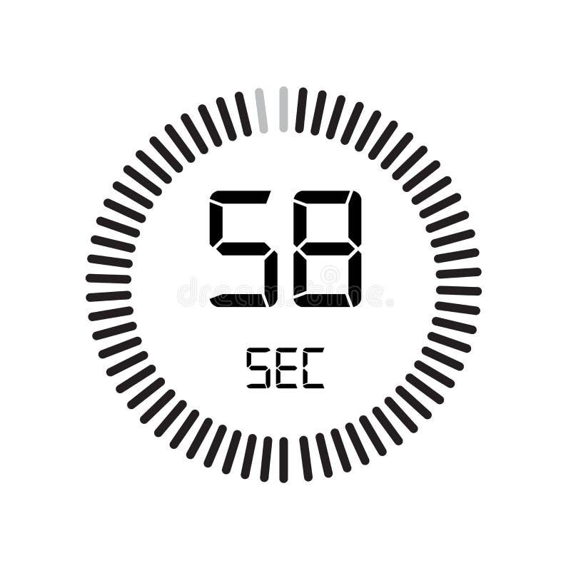 L'icône de 58 secondes, minuterie numérique horloge et montre, minuterie, coun illustration de vecteur