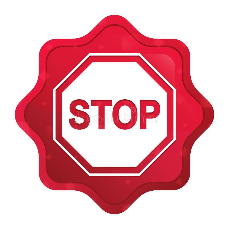 L'icône de signe d'arrêt brumeuse a monté bouton rouge d'autocollant de starburst illustration libre de droits