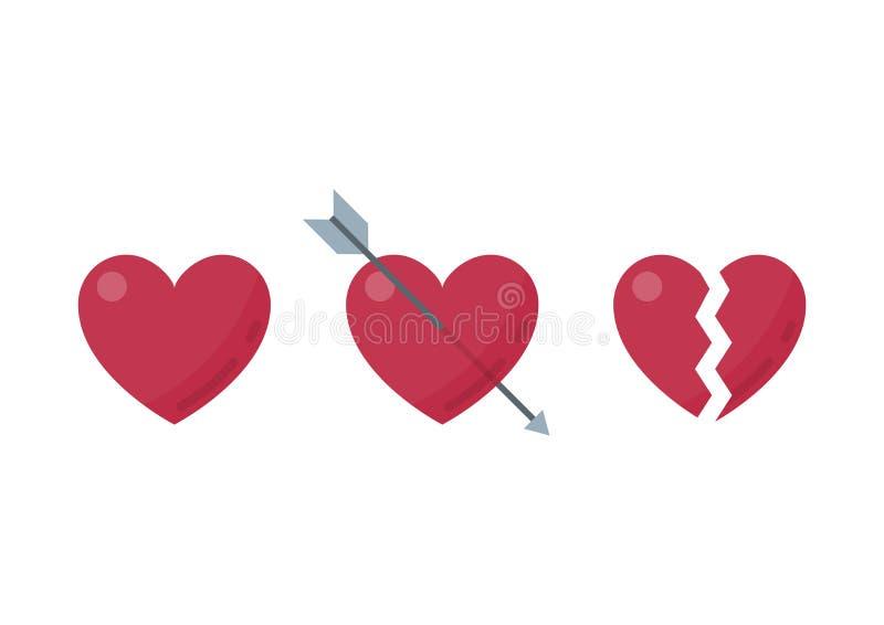 L'icône de symbole de coeur a placé le style différent image stock