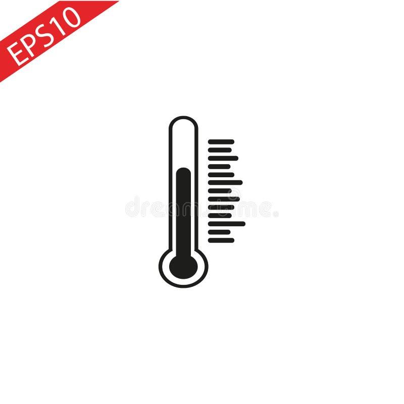 L'icône de thermomètre Symbole de thermomètre Illustration plate de vecteur photographie stock libre de droits