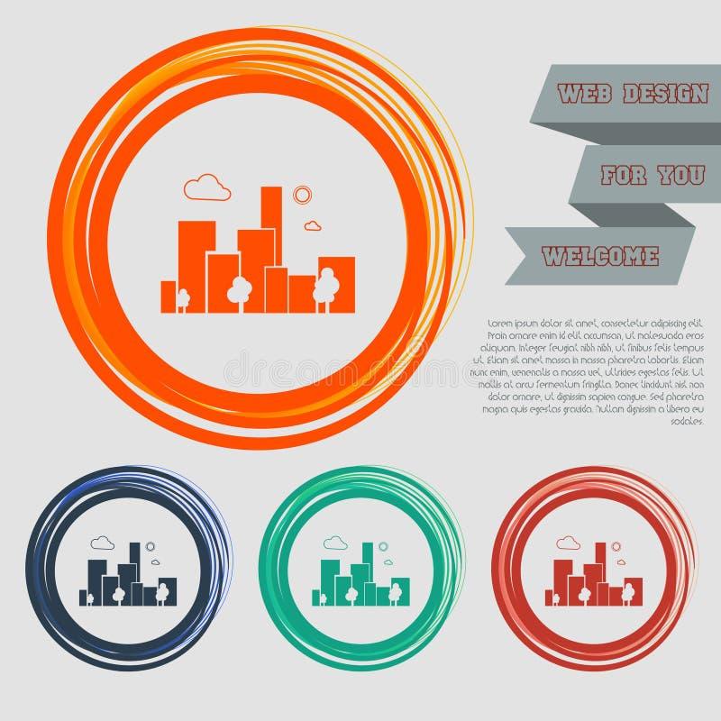 L'icône de ville sur les boutons rouges, bleus, verts, oranges pour votre site Web et la conception avec l'espace textotent illustration de vecteur