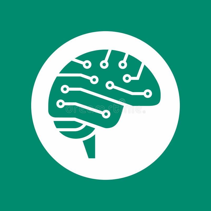 L'icône de vue de côté de cerveau de Cyber, symbole d'AI, les cerveaux électriques de carte forment l'illustration de vecteur illustration libre de droits