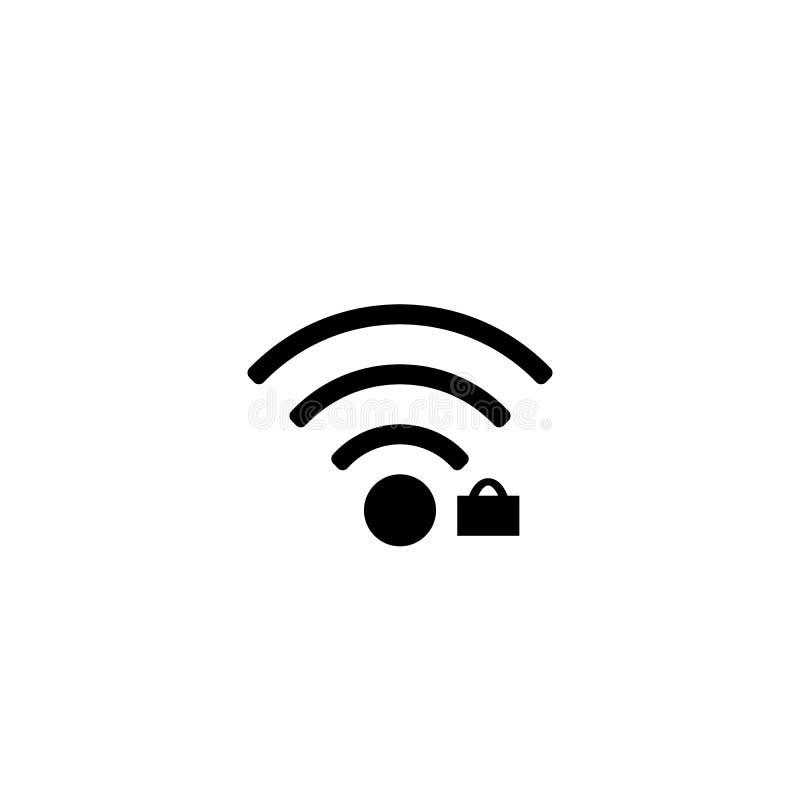 L'icône de WiFi, noircissent sur le fond blanc, vecteur Icône de wifi de sécurité illustration libre de droits