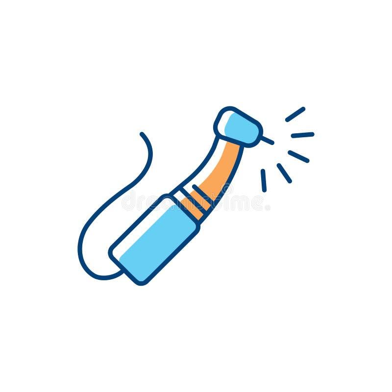 L'icône dentaire de foret, les outils dentaires amincissent la ligne icônes Illustration de vecteur de soins dentaires illustration libre de droits