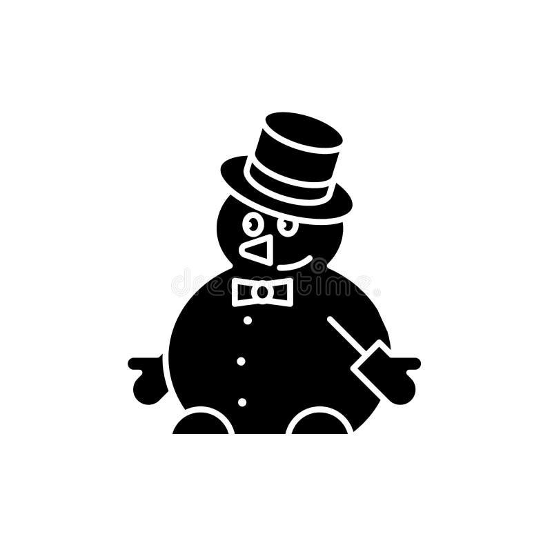 L'icône drôle de noir de bonhomme de neige, dirigent pour se connecter le fond d'isolement Symbole drôle de concept de bonhomme d illustration libre de droits