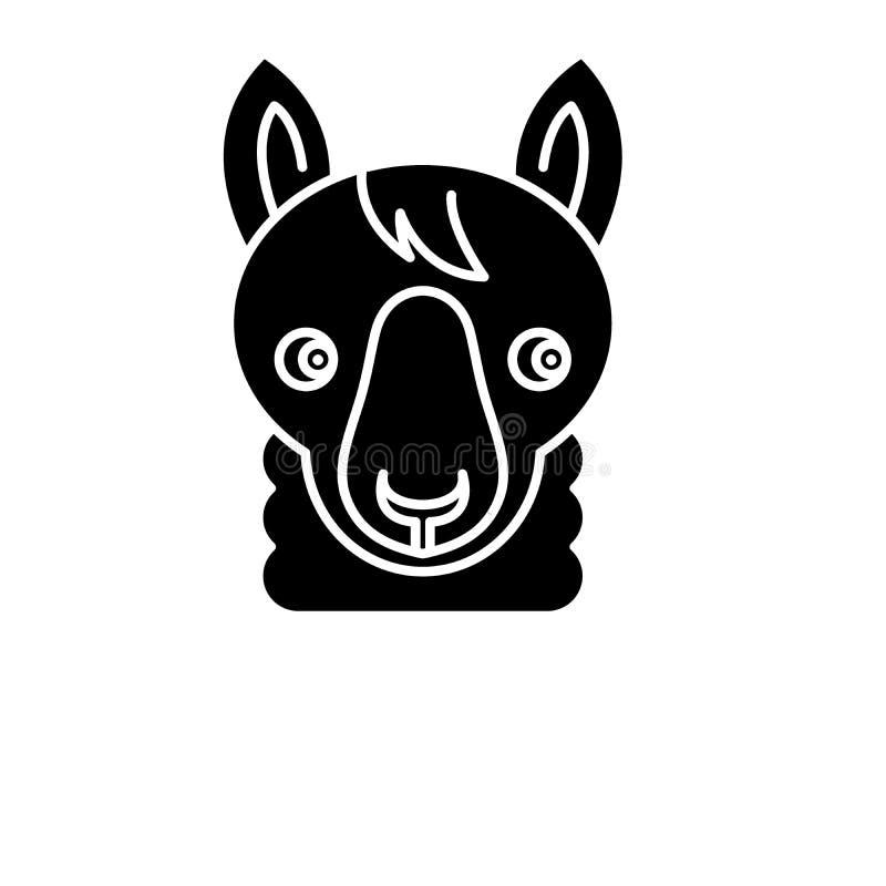 L'icône drôle de noir de lama, dirigent pour se connecter le fond d'isolement Symbole drôle de concept de lama, illustration illustration libre de droits
