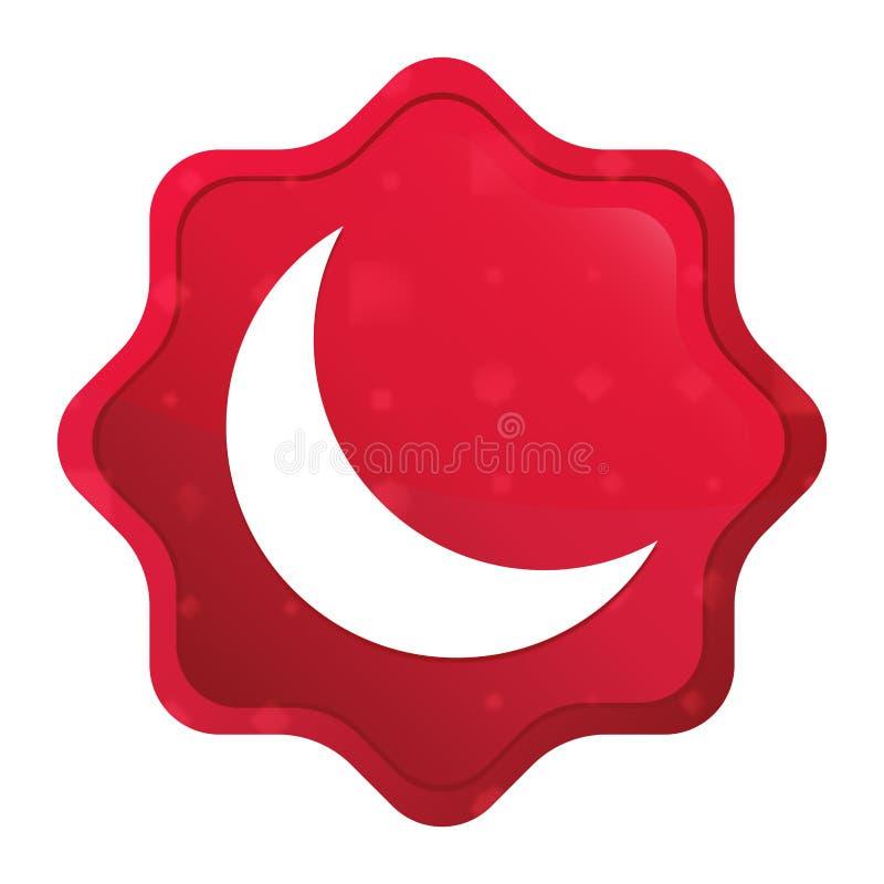 L'icône en croissant de demi-lune brumeuse a monté bouton rouge d'autocollant de starburst illustration libre de droits