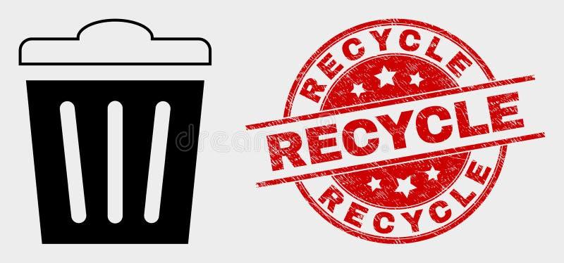 L'icône et la détresse de poubelle de vecteur réutilisent le joint illustration de vecteur