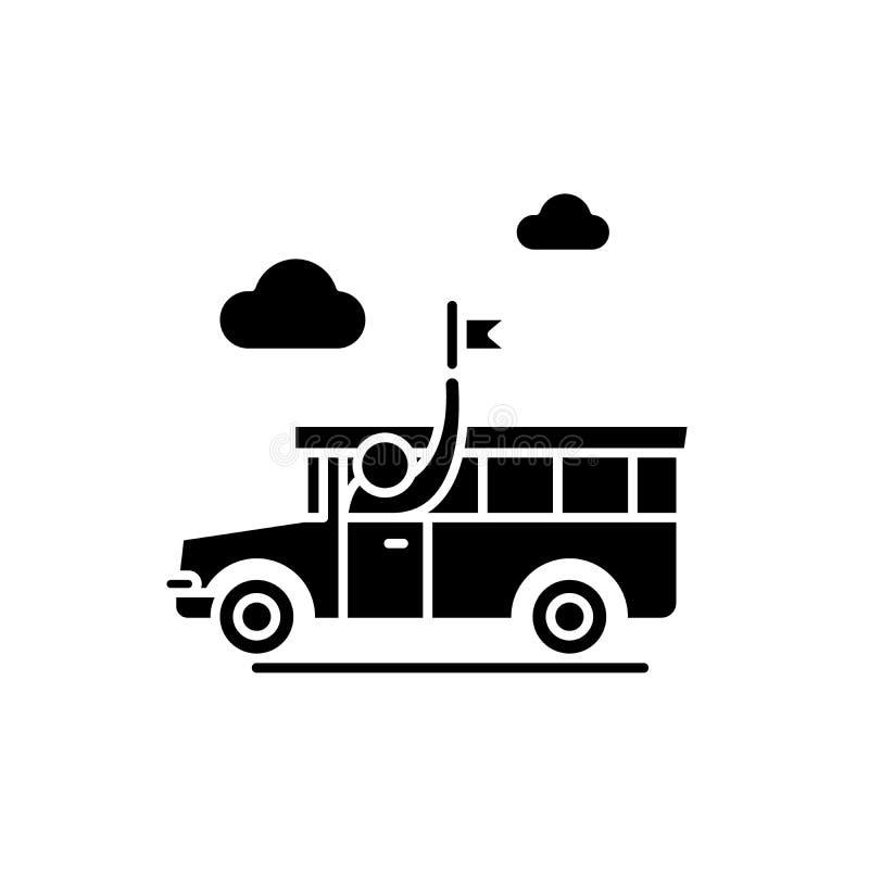L'icône guidée de noir de visite, dirigent pour se connecter le fond d'isolement Symbole guidé de concept de visite, illustration illustration libre de droits
