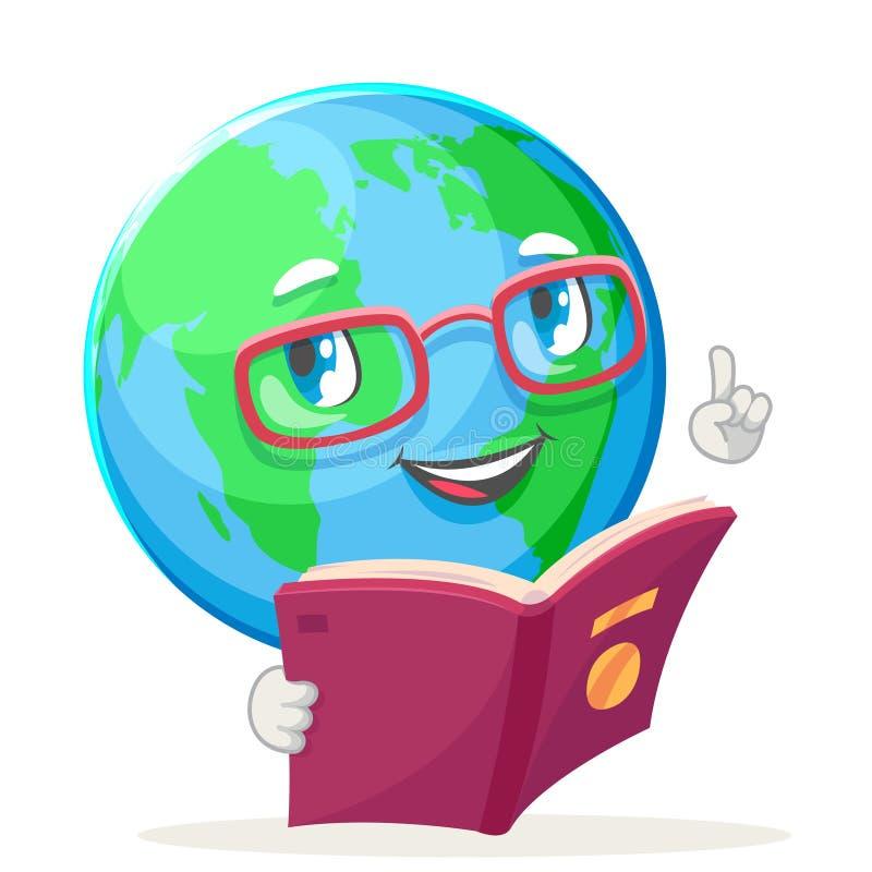 L'icône heureuse de caractère de globe de la terre de nature d'émotion d'écologie de livre de lecture a isolé l'illustration de v illustration stock