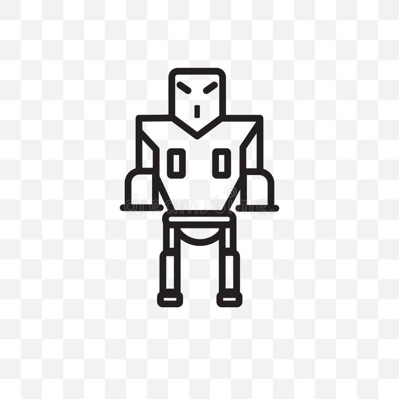 L'icône linéaire de robot de vecteur militaire de machine d'isolement sur le fond transparent, concept militaire de transparent d illustration de vecteur