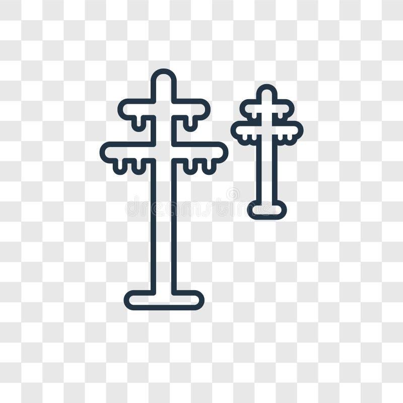 L'icône linéaire de tour de vecteur électrique de concept d'isolement dessus transparen illustration libre de droits