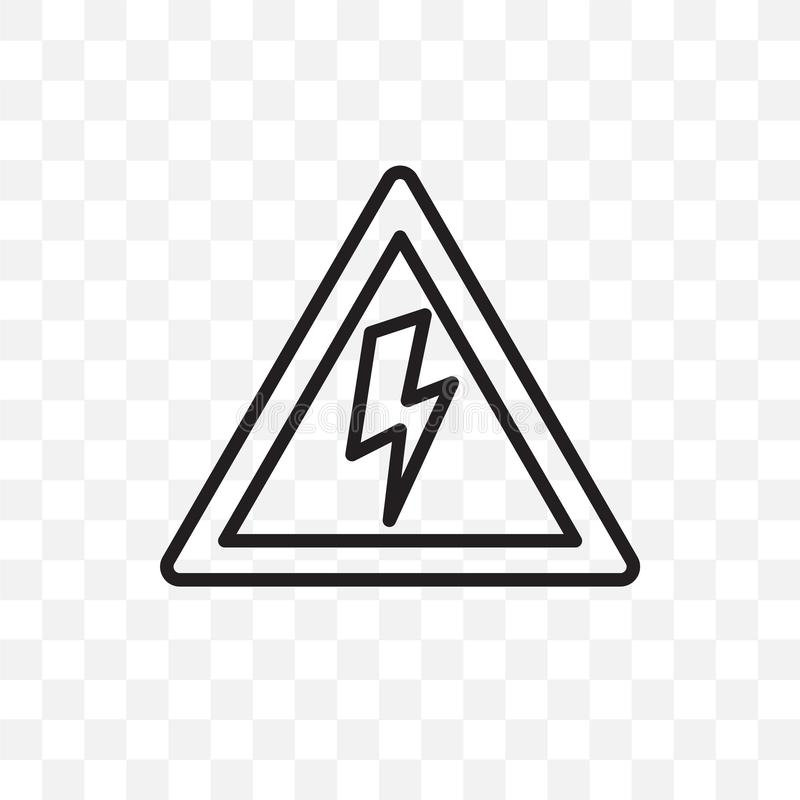L'icône linéaire de vecteur à haute tension d'isolement sur le fond transparent, concept à haute tension de transparent peut être illustration stock