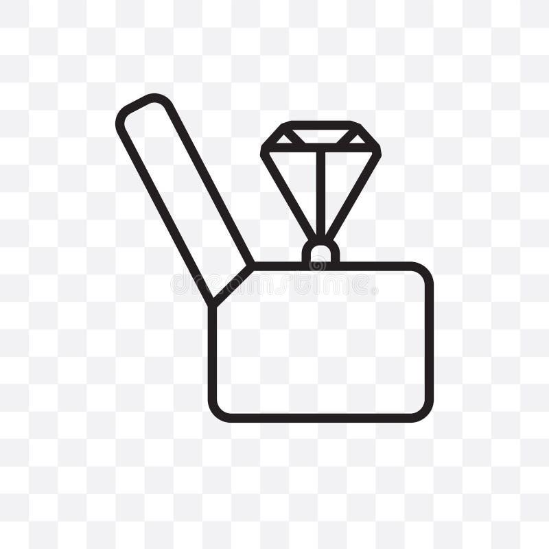 L'icône linéaire de vecteur de bague de fiançailles d'isolement sur le fond transparent, concept de transparent de bague de fianç illustration libre de droits