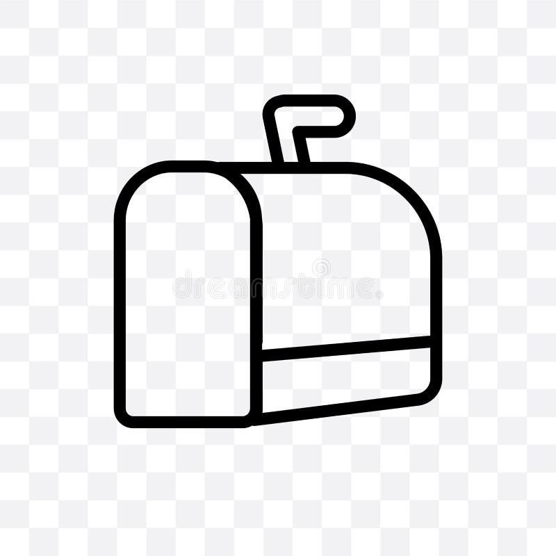 l'icône linéaire de vecteur de boîte aux lettres de Noël d'isolement sur le fond transparent, concept de transparent de boîte aux illustration de vecteur