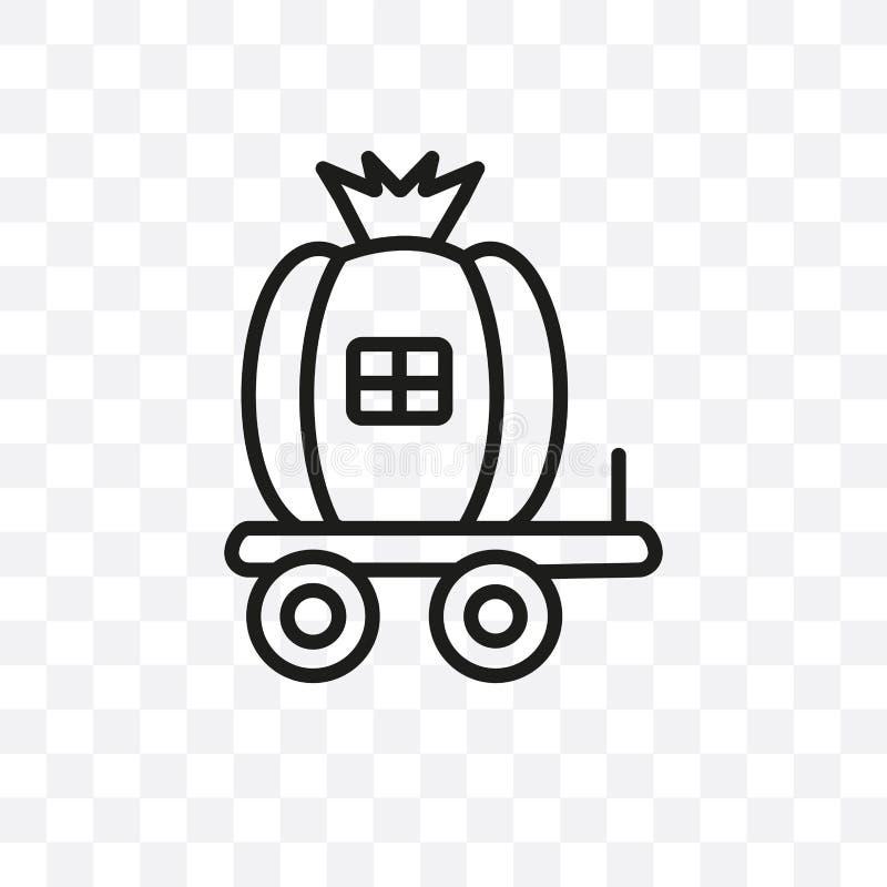 L'icône linéaire de vecteur de chariot de Cendrillon d'isolement sur le fond transparent, concept de transparent de chariot de Ce illustration de vecteur