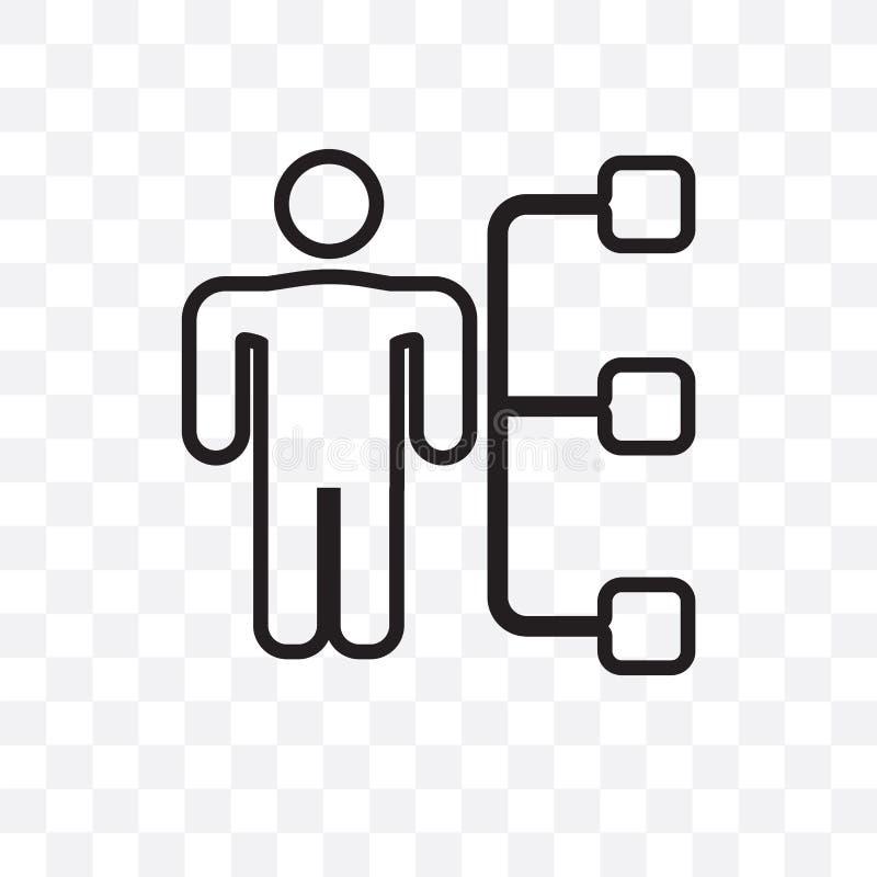 L'icône linéaire de vecteur de chef de service d'isolement sur le fond transparent, concept de transparent de chef de service peu illustration stock