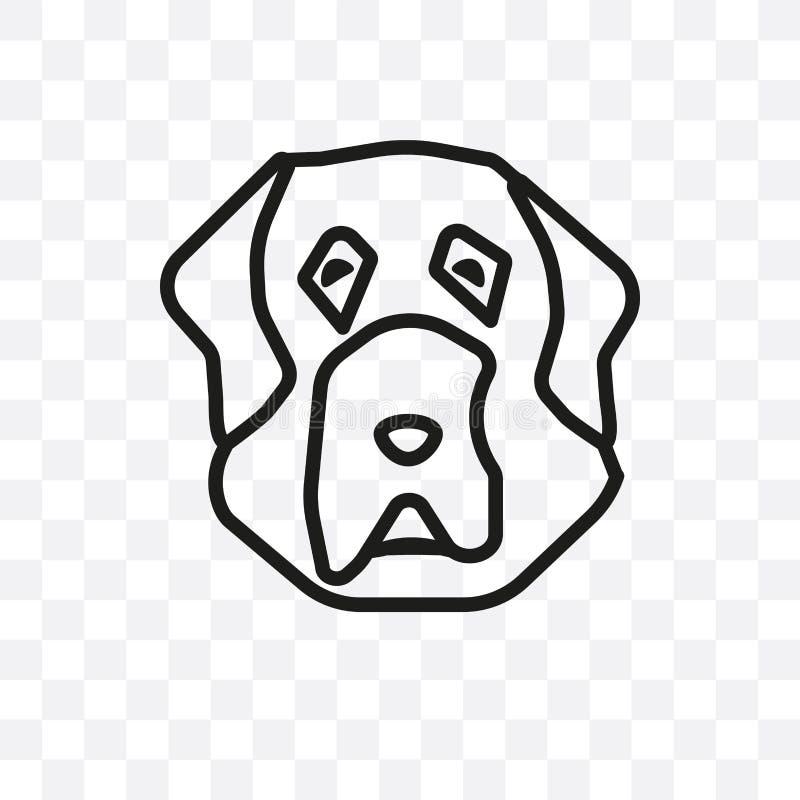 L'icône linéaire de vecteur de chien de mastiff tibétain d'isolement sur le fond transparent, concept de transparent de chien de  illustration libre de droits