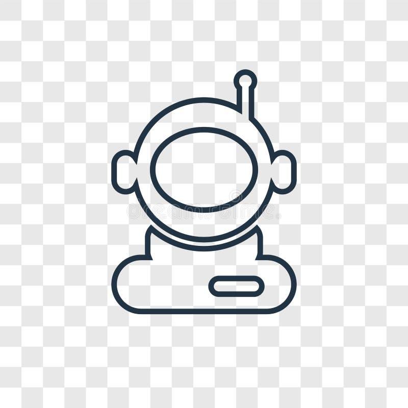 L'icône linéaire de vecteur de concept d'User d'astronaute d'isolement dessus transparen illustration de vecteur