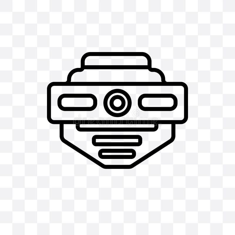 l'icône linéaire de vecteur de détecteur de fumée d'isolement sur le fond transparent, concept de transparent de détecteur de fum illustration libre de droits