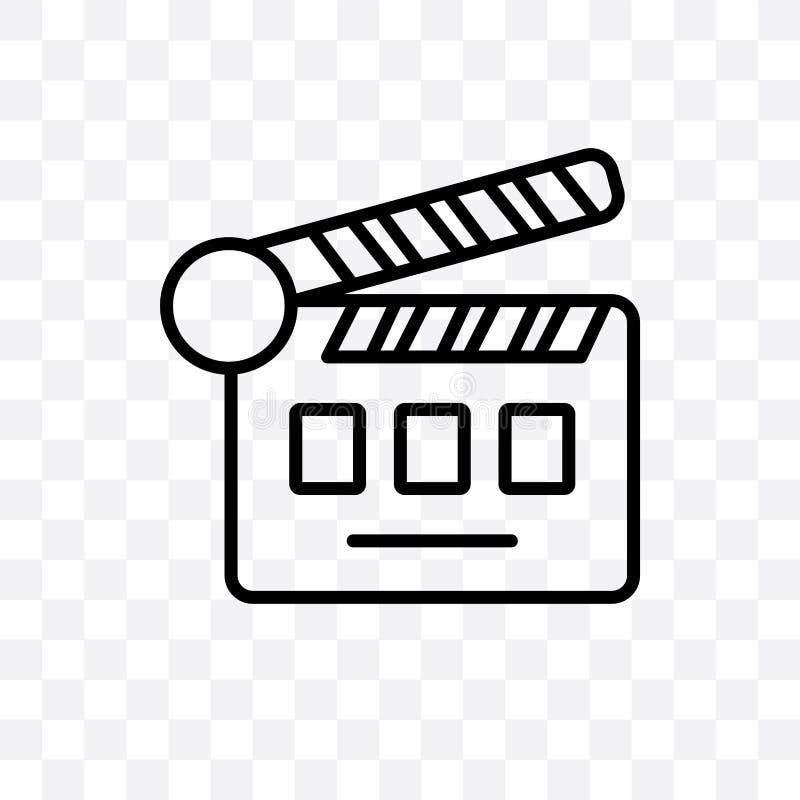 l'icône linéaire de vecteur d'aileron de cinéma d'isolement sur le fond transparent, concept de transparent d'aileron de cinéma p illustration libre de droits
