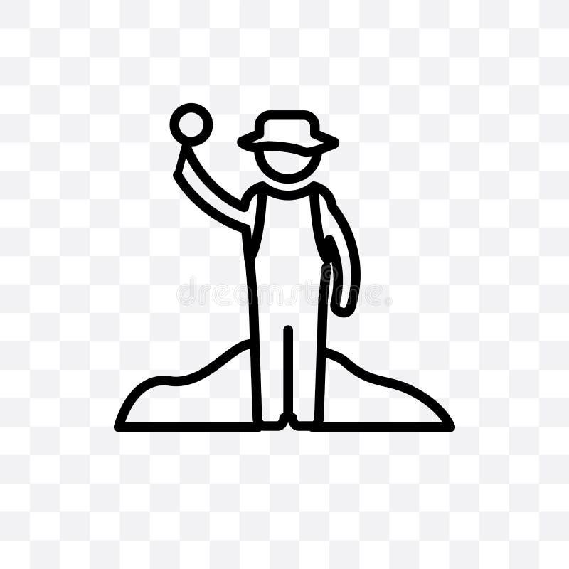 L'icône linéaire de vecteur d'archéologue d'isolement sur le fond transparent, concept de transparent d'archéologue peut être emp illustration stock