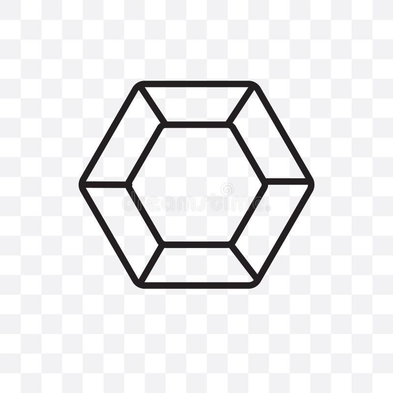 L'icône linéaire de vecteur de Dodecahedron d'isolement sur le fond transparent, concept de transparent de Dodecahedron peut être illustration libre de droits