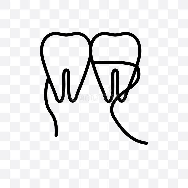 L'icône linéaire de vecteur de fil dentaire d'isolement sur le fond transparent, concept de transparent de fil dentaire peut être illustration de vecteur