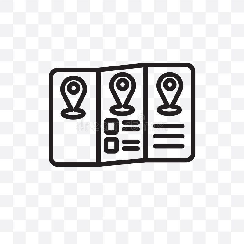 L'icône linéaire de vecteur de guide de voyage d'isolement sur le fond transparent, concept de transparent de guide de voyage peu illustration libre de droits