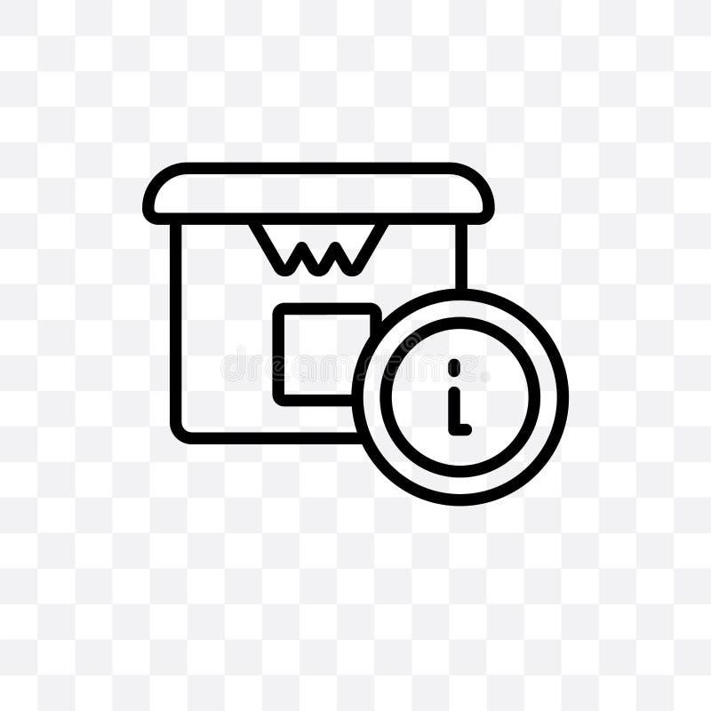 L'icône linéaire de vecteur de l'information de livraison d'isolement sur le fond transparent, concept de transparent de l'inform illustration libre de droits