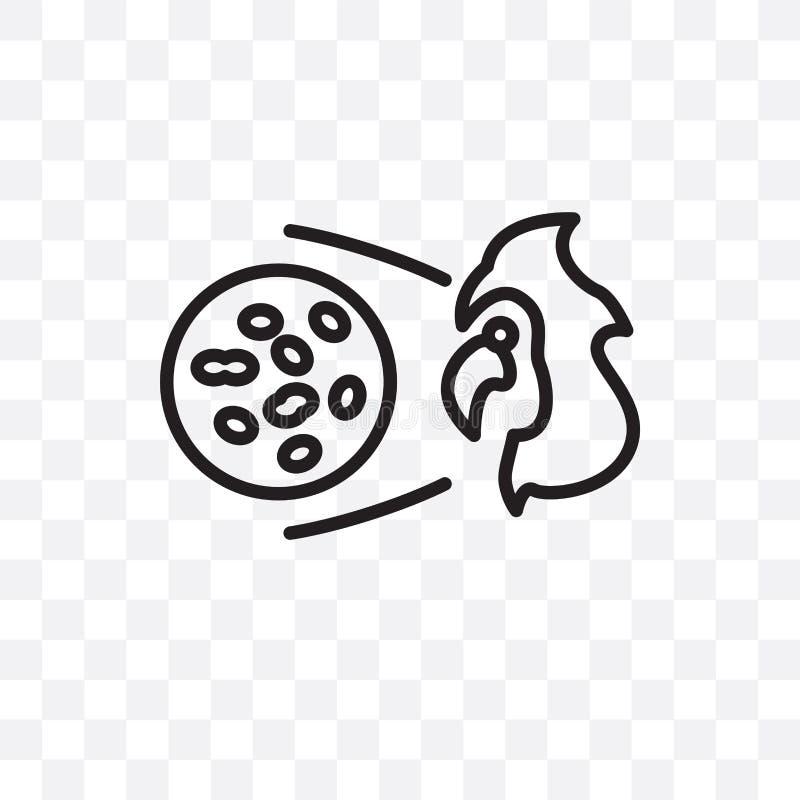L'icône linéaire de vecteur de maladie parodontale d'isolement sur le fond transparent, concept de transparent de maladie parodon illustration de vecteur