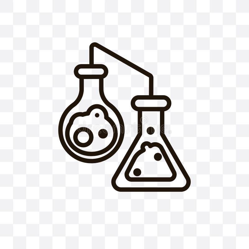 L'icône linéaire de vecteur de réaction chimique d'isolement sur le fond transparent, concept de transparent de réaction chimique illustration stock