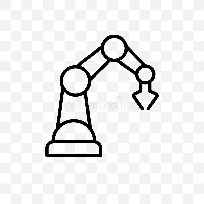 L'icône linéaire de vecteur de robot industriel d'isolement sur le fond transparent, concept de transparent de robot industriel p illustration stock