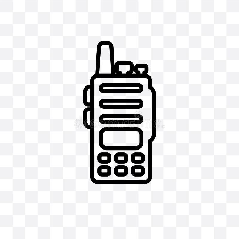 L'icône linéaire de vecteur de talkie-walkie d'isolement sur le fond transparent, concept de transparent de talkie-walkie peut êt illustration stock