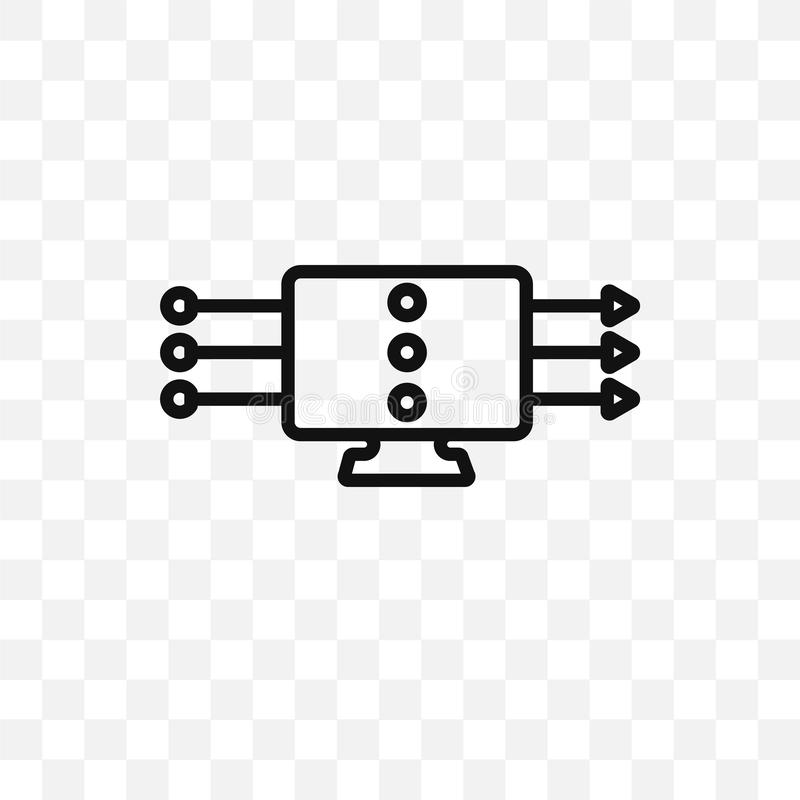 l'icône linéaire de vecteur de transmission en continu d'isolement sur le fond transparent, concept de transparent de transmissio illustration de vecteur