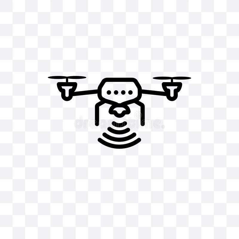 L'icône linéaire touchée de vecteur aérien de véhicule d'isolement sur le fond transparent, concept aérien téléguidé de transpare illustration de vecteur