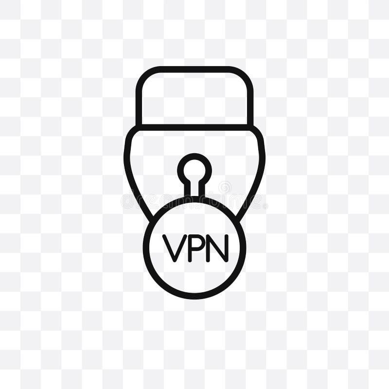 L'icône linéaire virtuelle de vecteur de réseau privé d'isolement sur le fond transparent, concept virtuel de transparent de rése illustration de vecteur