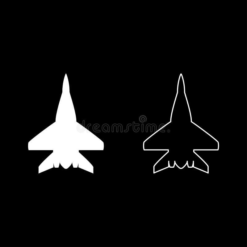 L'icône militaire d'avion de combattant d'avion de combat a placé l'image plate de style de couleur d'illustration blanche de vec illustration libre de droits