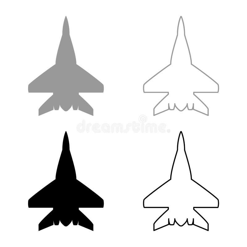 L'icône militaire d'avion de combattant d'avion de combat a placé l'image plate de style de couleur d'illustration noire de vecte illustration de vecteur