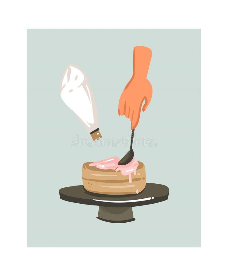 L'icône moderne d'illustrations d'amusement de temps de cuisson de bande dessinée d'abrégé sur tiré par la main vecteur avec la f illustration libre de droits
